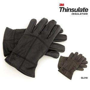 Mens-Black-Sheepskin-Leather-Gloves-Winter-Warm-Thinsulate-3M-Lining