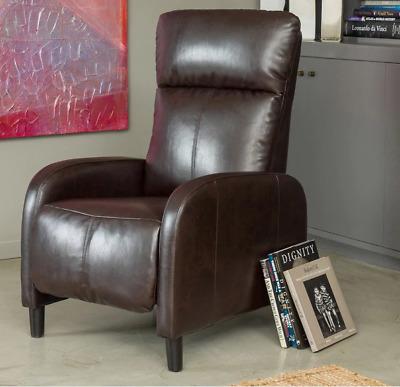 Rv Recliner Small Slim Leather Reclining Chair Dark Brown