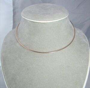 14kt Rose Gold filled 18ga Round neckwire, choker, slide, wire necklace