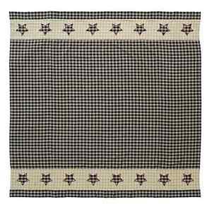 BINGHAM STAR Shower Curtain Primitive Country Rustic Cabin Black/Tan/Red 72x72