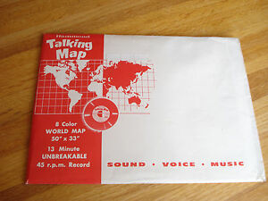 Vintage-HAMMOND-TALKING-MAP-Map-amp-45-RPM-Record-Education-Geography-Sound-Music