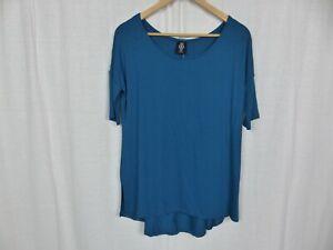 NWT Agnes & Dora Women's Hi Lo Tee Blue Short Sleeve Tunic Shirt Size Small