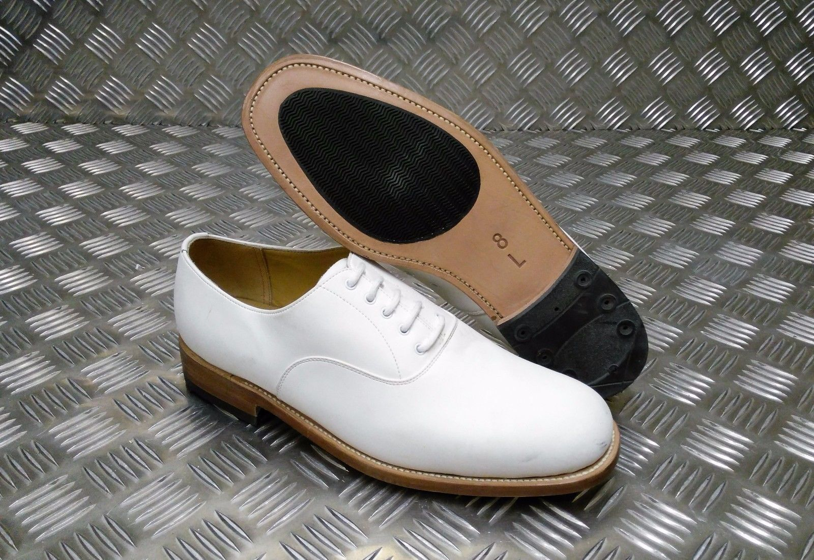 Echt British Navy Weißes Leder Parade/Formelle Schuhe Damen/Herren SEL