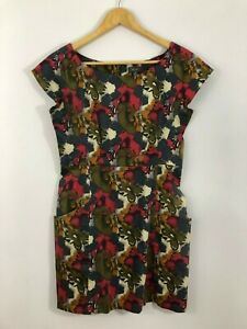 Ojay-Womens-Dress-size-10-Red-Yellow-Green-Grey-Floral-Stretch-Straight
