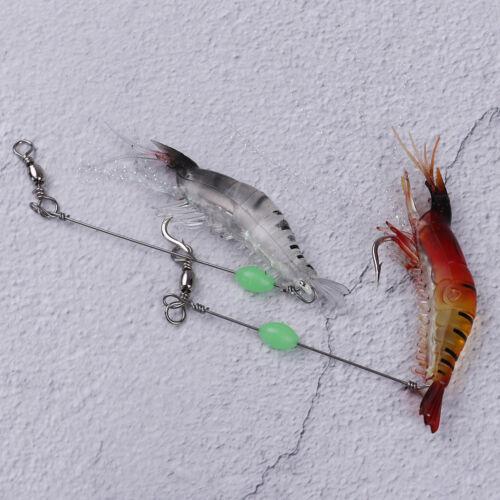 2pcs 9cm//6g Shrimp Soft Lure Fishing Artificial Bait With Glow Hook Swivels   AB