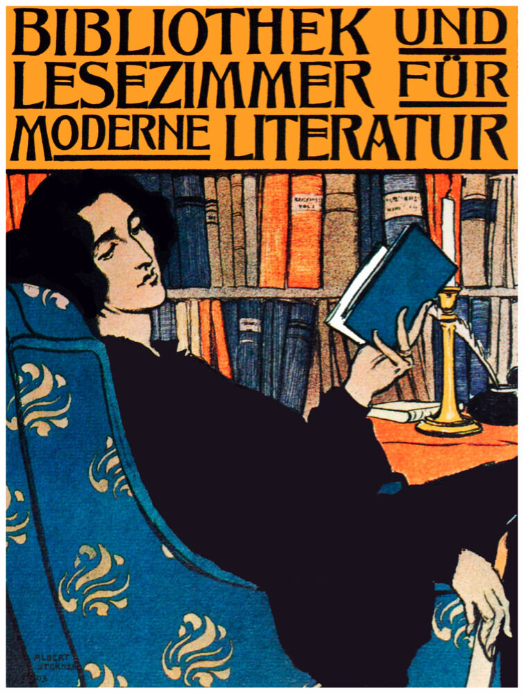 7696..Bibliothek un lesezimmer.woman resting on chair.POSTER.art wall decor