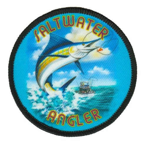 Saltwater Angler fishing Dye Sublimation Iron On Applique Handmade Merrow Patch