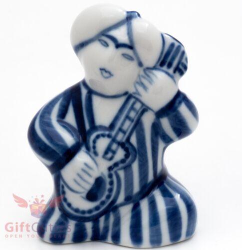 Gzhel porcelain Figurine Central Asia man playing on Mandolin or Bouzouki
