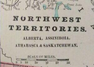 Vintage-1900-NORTHWEST-TERRITORIES-Map-11-034-x14-034-Old-Antique-Original-YELLOWKNIFE