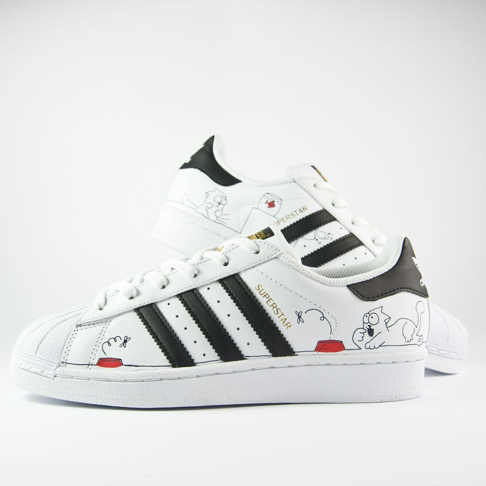 shoes Adidas Superstar - Hand Painted with Cat and Yarn