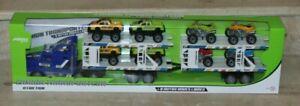 jouet. camion transporteur a  friction + 8 autos roues libres (ref 503170)