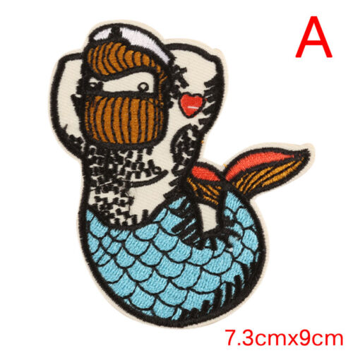 Mermaid Embroidery Sew Iron On Patch Badge Bag Clothes Fabric Applique Patch ZF