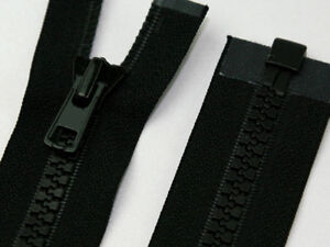 Black-Chunky-Plastic-Teeth-Zip-Heavy-Duty-Zipper-Open-End-Various-Lengths-No-5