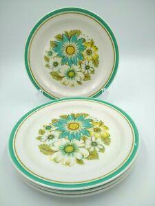 "4 Noritake Craftone BLUE SKY 8760 Salad Plates 7 5/8"" Aqua, Green Bands, Floral"