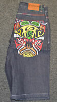 Coogi Men's Blue Denim Jean Shorts With Tags Mask Design $125 Retail