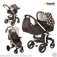 Hauck Malibu Xl All In One Travel System Pushchair Pram+raincover Dots Black