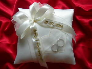 Personalised wedding ring cushion pillow with heart 86 colours