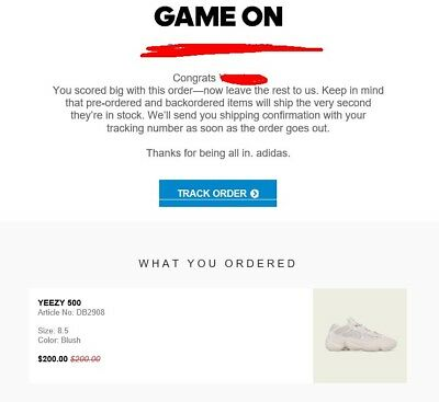 best sneakers a54ee d2186 Adidas Yeezy 500 Blush Mens Size 8.5 Confirmed ORDER YEEZY SUPPLY | eBay