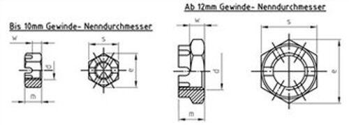 DIN 937 Kronenmuttern niedrige Form Edelstahl A2 A4 verschiedene Ausführungen