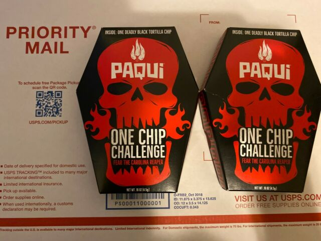 Qty of 2 Paqui One Chip Challenge World Hottest Chip 2019 Black Chip Fast Ship!!