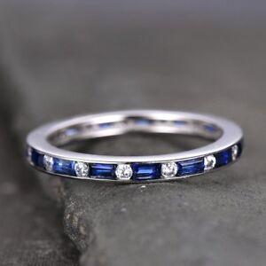 1ct-Baguette-Cut-Blue-Sapphire-Eternity-Wedding-Band-Ring-14k-White-Gold-Finish