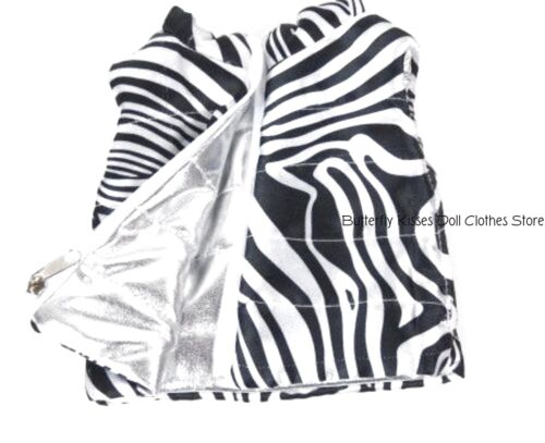 Zebra Print Reversible Puffer Vest 18 in Doll Clothes Fits American Girl Doll
