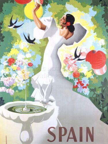 ART PRINT POSTER TRAVEL SPAIN FLAMENCO DANCE BIRD BATH NOFL1151