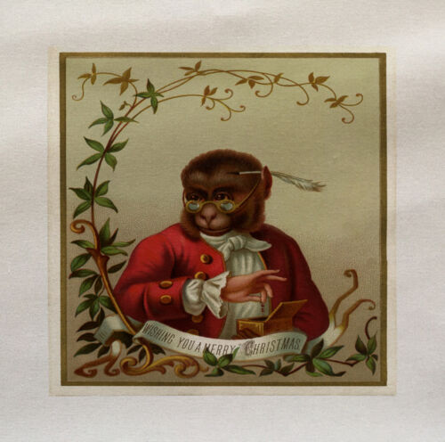 Christmas Monkey Printed On Fabric Panel Make A Cushion Upholstery Craft