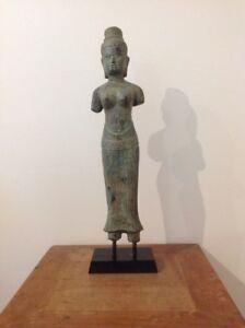 Bronze-Standing-Torso-Cambodian-Female-Figure-made-in-Thailand
