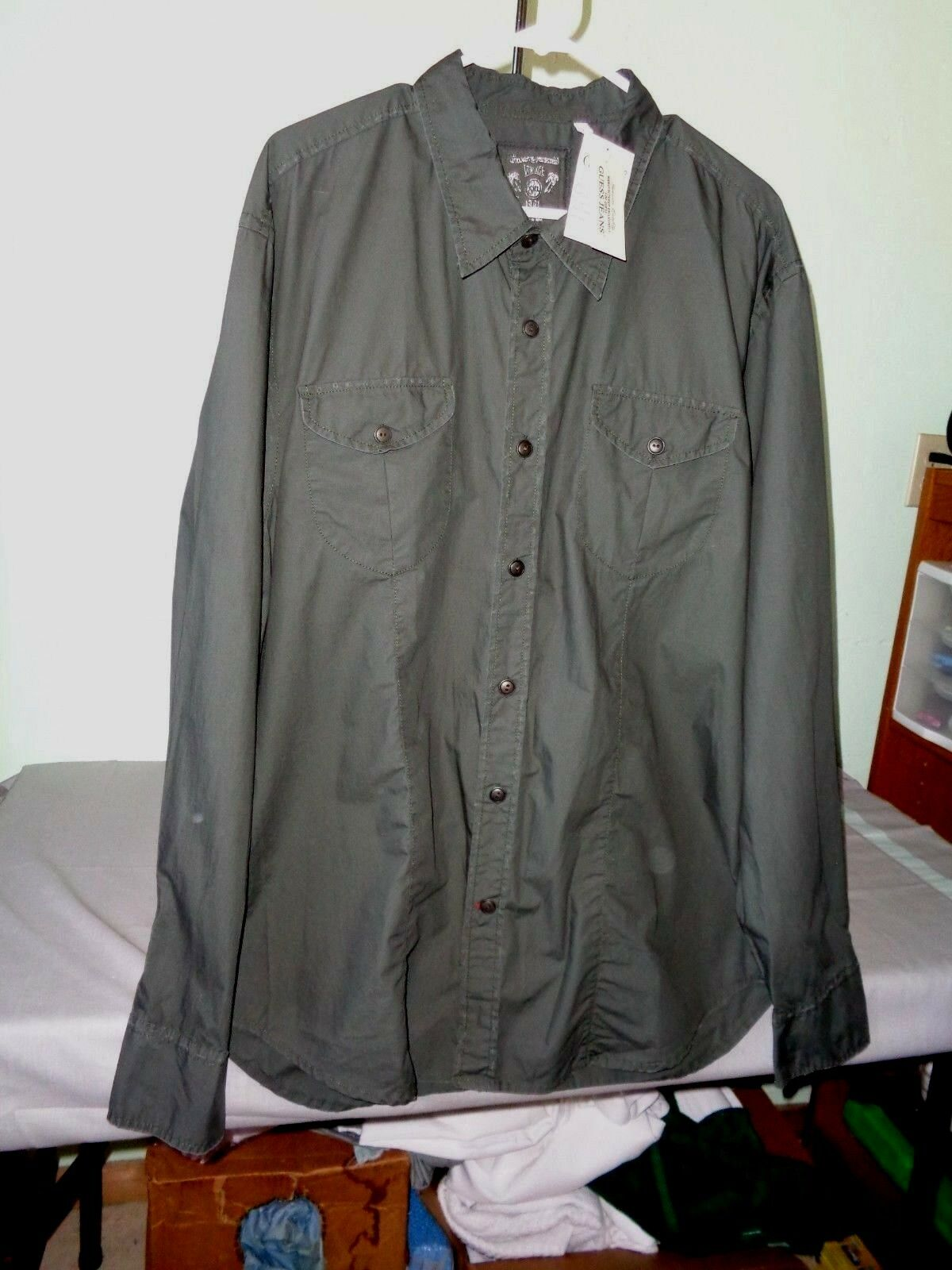 1de64d9d9 NWT Guess Vintage Men's Long Sleeve Olive XXL Button Front Collar Dress  Shirt. There is no custom code to ...