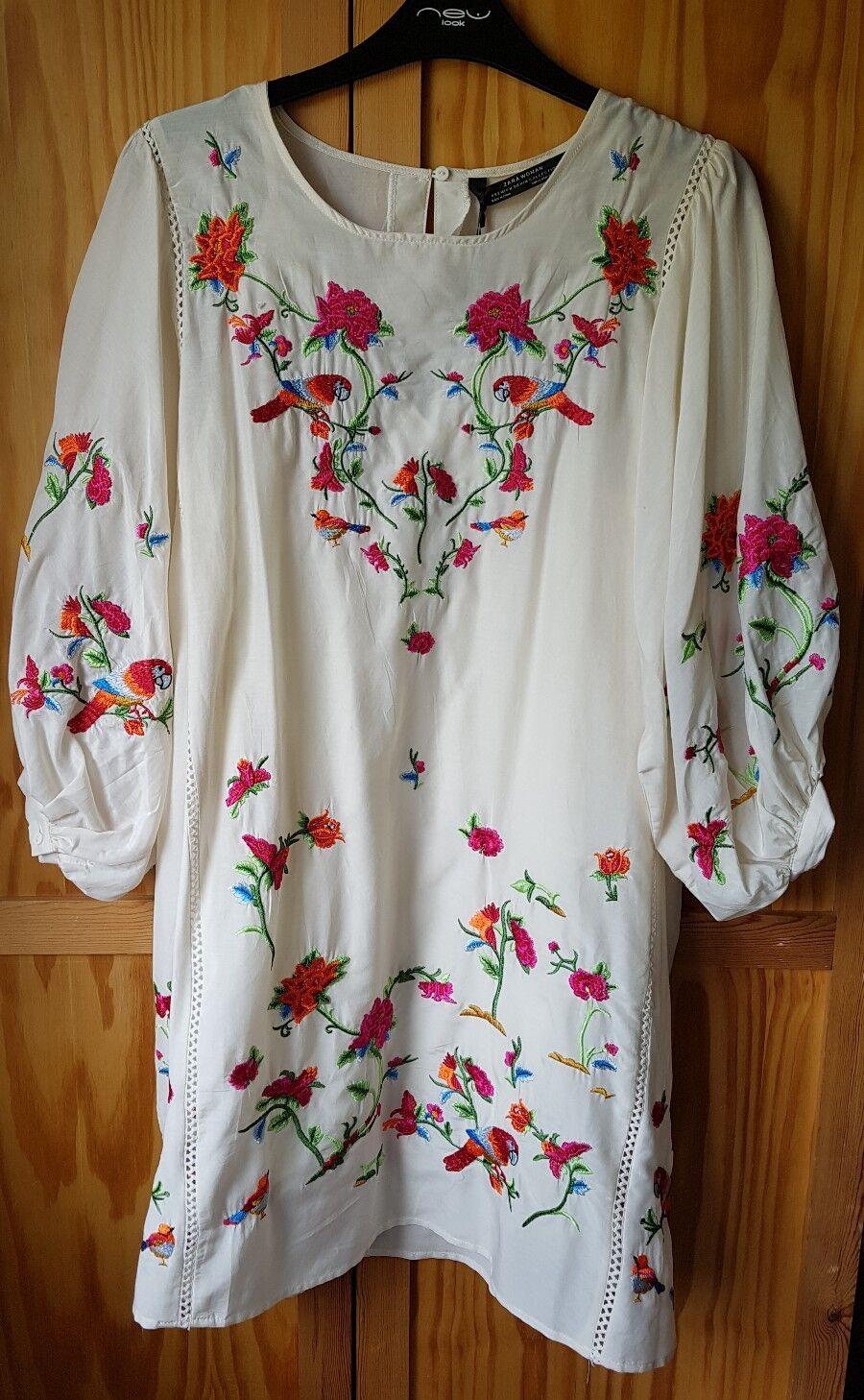 b2d6b2b6 ZARA cream off-white floral floral floral embroidered summer dress, cotton  silk, size XS, BNWT a1d123