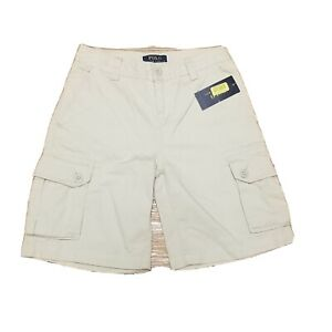 New-Polo-by-Ralph-Lauren-Boys-Cargo-Shorts-Size-8-Flat-Front-6-Pocket-Sand