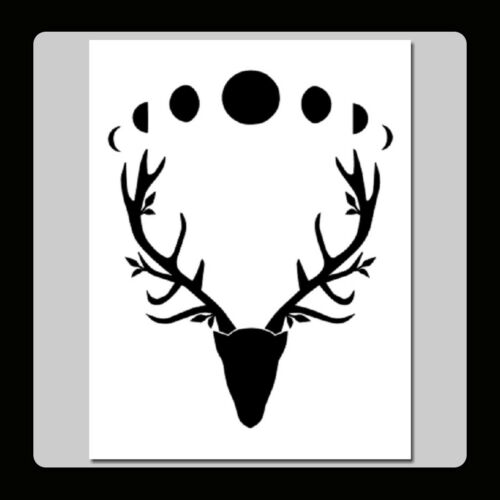 7 X 9 Wiccan Horned God Stag Head w Moon Phases STENCIL Antlers//Leaves//Nature