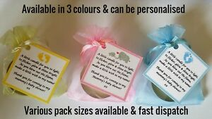Baby Shower Favours Candle Tea Light Blue Pink