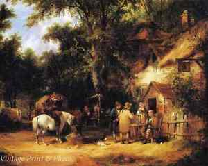 A Village Scene by Robert Gallon Art Old England People Cottages 8x10 Print 0716
