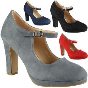 Para-Mujer-Mary-Jane-Tribunal-plarform-Zapatos-Damas-Tacon-Alto-Hebilla-De-Fiesta-De-Gamuza-Talla