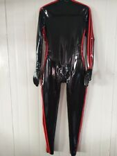 Latex Rubber Black and Red Catsuit Suit Zipper Tights Bodysuit Size XS~XXL