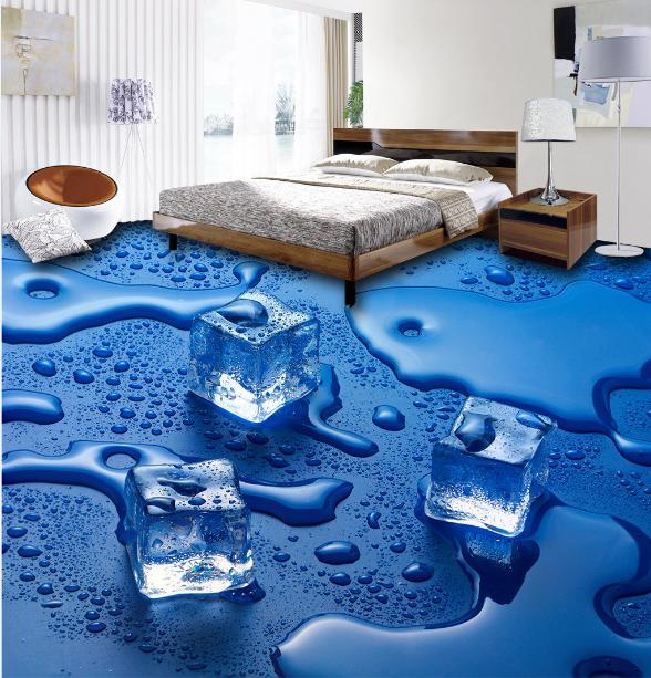 3D Blau Ice Cube Water 7 Floor WallPaper Murals Wall Print Decal AJ WALLPAPER US