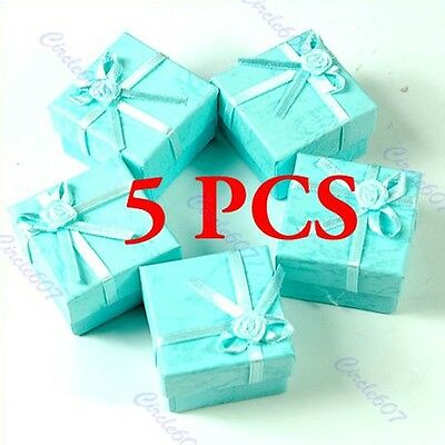 5 Pcs Green Jewellery Jewelry Gift Box Case For Ring Square