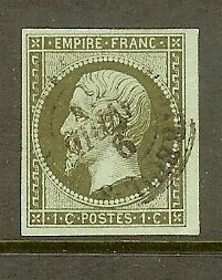 FRANCE-STAMP-TIMBRE-N-11-034-NAPOLEON-1c-OLIVE-ND-1860-034-OBLITERE-TTB