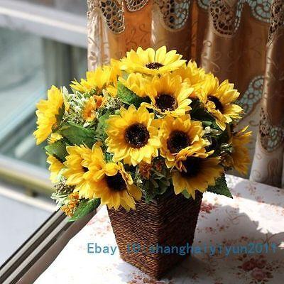 1 PCS Artificial Sunflower Bouquet Silk Flower Home Decoration NO VASE F155