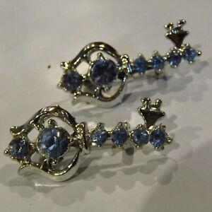 Vintage-Scatter-Pins-KEYS-Blue-Rhinestones-CUTE