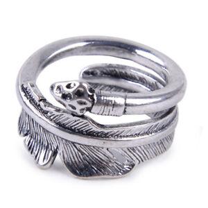 Vintage-Silberring-Feder-Verstellbar-Ring-Silber-Damen-Schmuck-Damenringe-ye