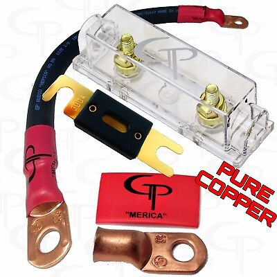 200 AMP ANL Fuse Holder INLINE Block BATTERY INSTALL KIT 2//0 AWG GAUGE COPPER BR
