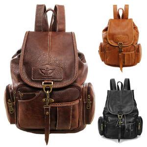 Vintage Women Backpack Leather Travel Hand Shoulder School Bag Satchel Rucksack