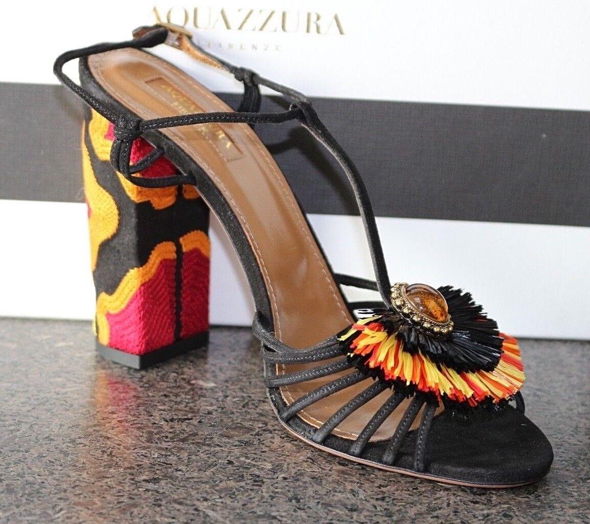 NIB Authentic AQUAZZURA SAMBA BLK SUEDE COLORFUL RAFFIA JEWELED Sandals shoes 39