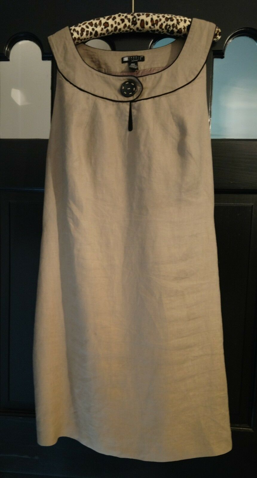 CAROLE LITTLE WOMAN 100% LINEN CLASSIC TAUPE SLEEVELESS LINED DRESS 24W LOVELY!
