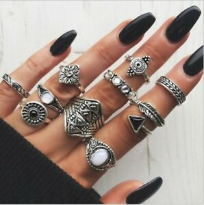 10pcs-Silver-Boho-Stack-Plain-Above-Knuckle-Ring-Sun-Midi-Finger-Tip-Rings-Set