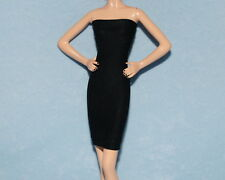 HOT! Jet Black Satin Feel UNIQUE Party Dress LBD BARBIE Model Muse Silkstone C3
