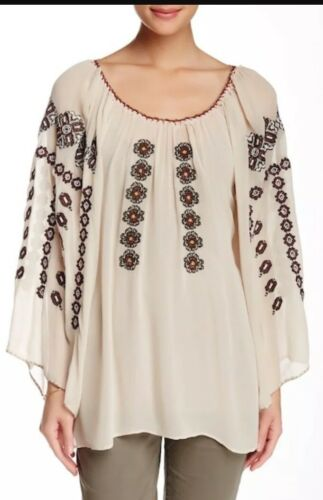 Vintage Embroidered Nang Nwt Size Women's Mauve Blouse Small Georgette Da gwUU1x6q